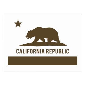 California Republic Flag - Brown Postcard