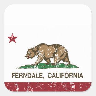 California Republic Flag Ferndale Square Sticker