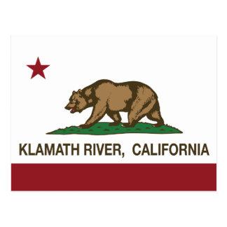 California Republic Flag Klamath River Postcard