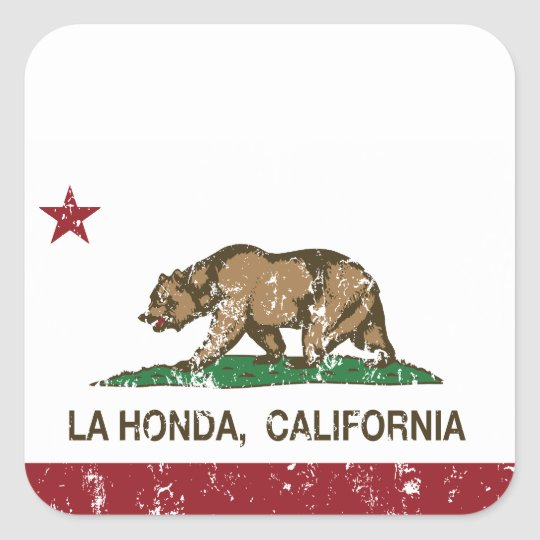 California Republic Flag La Honda Square Sticker