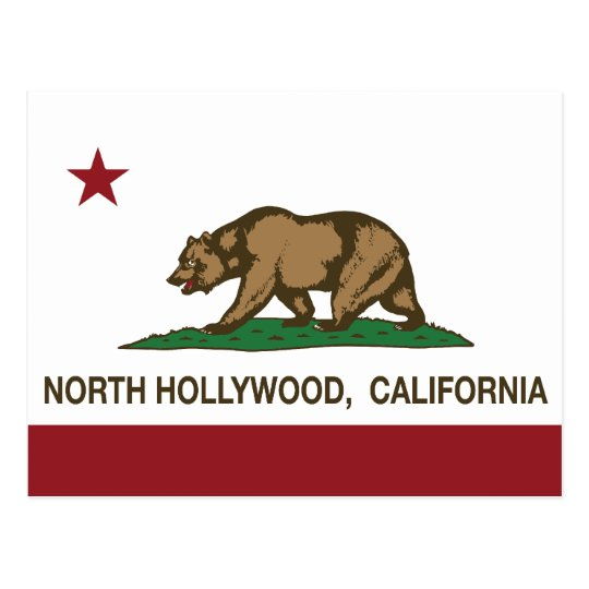 California Republic Flag North Hollywood Postcard