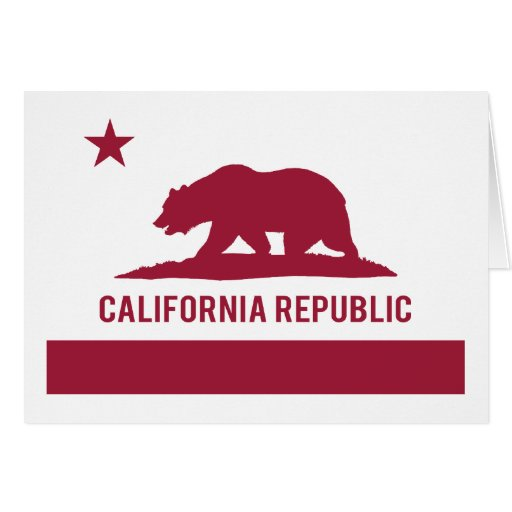 California Republic Flag - Red Greeting Cards