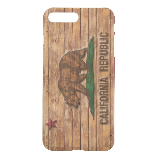 California Republic Flag Vintage Wood Design iPhone 7 Plus Case