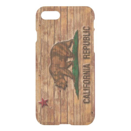 California Republic Flag Vintage Wood Design iPhone 8/7 Case