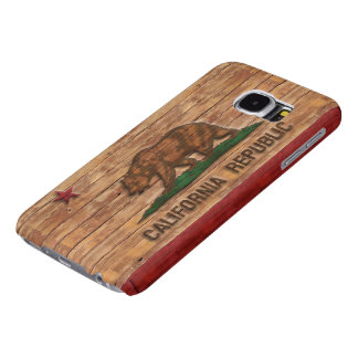 California Republic Flag Vintage Wood Design Samsung Galaxy S6 Cases
