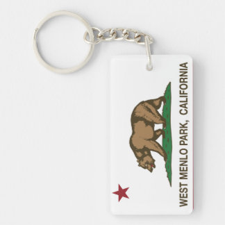 California Republic Flag West Menlo Park Double-Sided Rectangular Acrylic Keychain