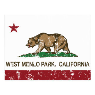 California Republic Flag West Menlo Park Postcard