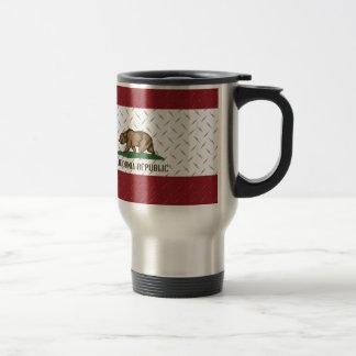 California Republic Flag White Diamondplate Travel Mug