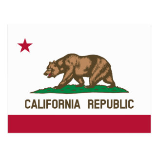 California Republic Grizzly Bear and Star Postcard