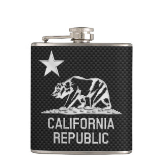 California Republic on Carbon Fiber Print Hip Flask