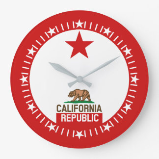 California Republic State Flag Large Star Dial Large Clock