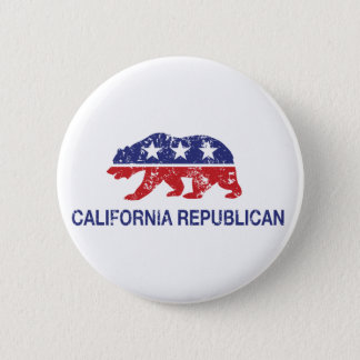 California Republican Political Bear Distressed 2 Inch Round Button