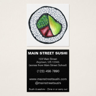 California Roll Sushi Japanese Food Restaurant Square Business Card