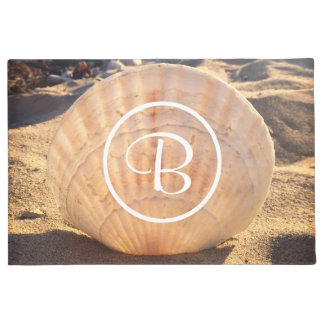 California sand and seashell photo custom monogram doormat