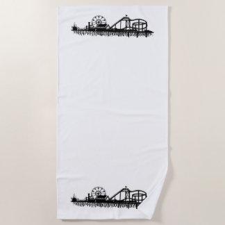 California Santa Monica CA Iconic Pier Silhouette Beach Towel