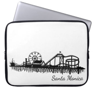 California Santa Monica CA Pier Beach Ferris Wheel Laptop Sleeve