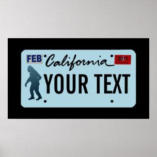 California Sasquatch License Plate Posters