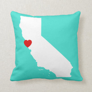 California Shape with Red Heart Throw Pillow
