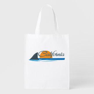 California Shark Fin & Sunset Reusable Grocery Bag