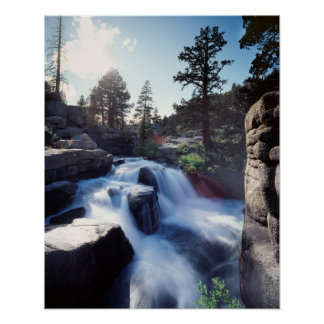 California, Sierra Nevada Mountains, A waterfall Poster