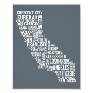 California State Art City Names Typography Print