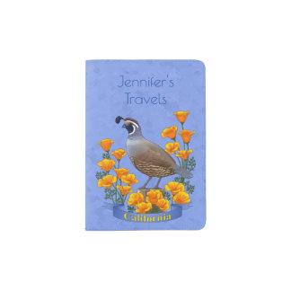 California State Bird Quail & Golden Poppy Passport Holder