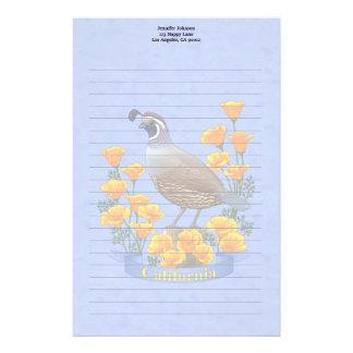 California State Bird Quail & Golden Poppy Stationery Paper