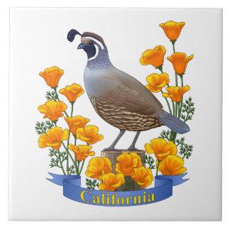 California State Bird Quail & Golden Poppy Tiles