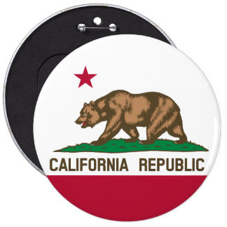 California State Flag 6 Inch Round Button