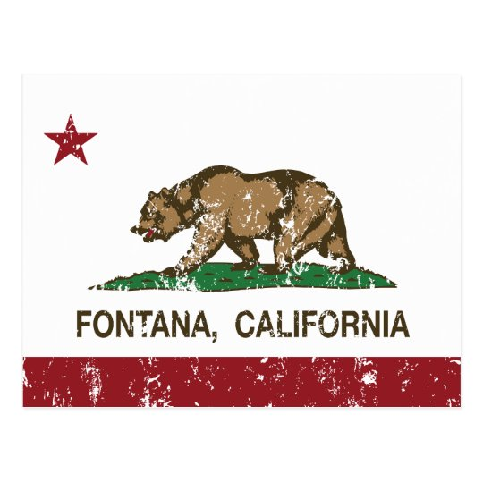 California State Flag Fontana Postcard