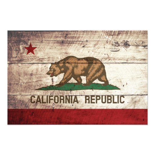 California State Flag on Old Wood Grain Photographic Print