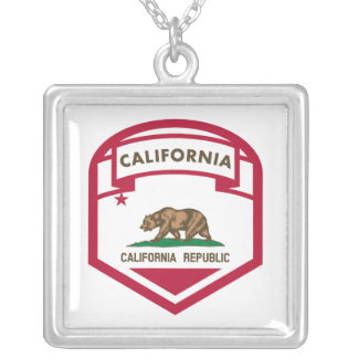 California State flag shield Silver Plated Necklace