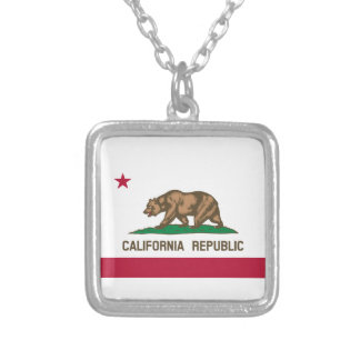 California State Flag Silver Plated Necklace