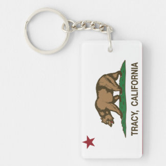 California State Flag Tracy Double-Sided Rectangular Acrylic Keychain