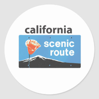 California State Highway Scenic Route Road Sign Classic Round Sticker