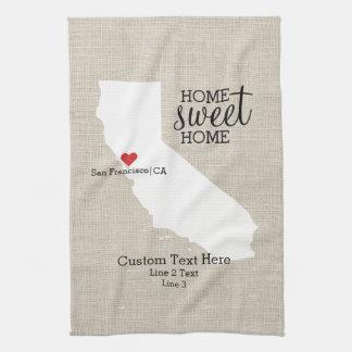 California State Love Home Sweet Home Custom Map Kitchen Towel