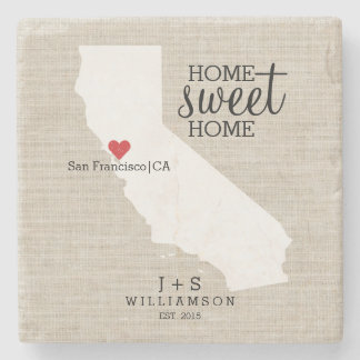 California State Love Home Sweet Home Custom Map Stone Beverage Coaster