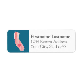California State Map with Custom Heart and Name