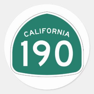 California State Route 190 Classic Round Sticker