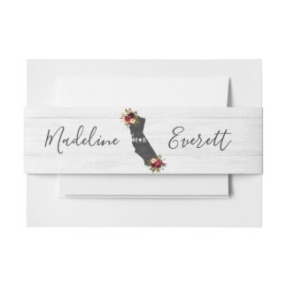 California State Rustic Floral Wedding Monogram Invitation Belly Band