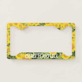 California Sunflower Pattern License Plate Frame