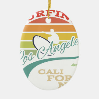 California surf illustration, t-shirt graphics ceramic oval ornament