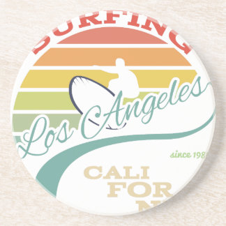 California surf illustration, t-shirt graphics coaster
