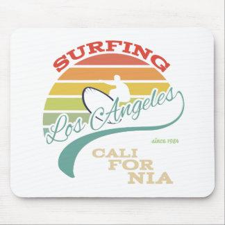 California surf illustration, t-shirt graphics mouse pad