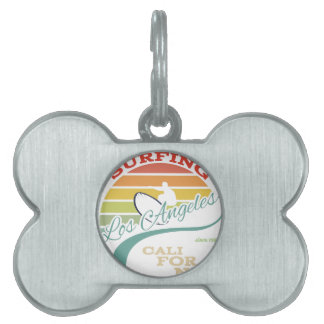 California surf illustration, t-shirt graphics pet tag