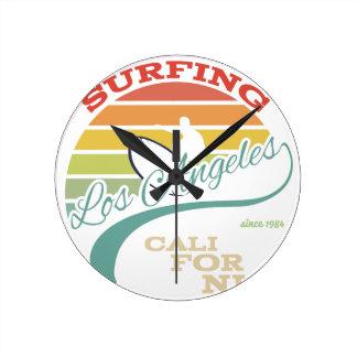 California surf illustration, t-shirt graphics wall clock