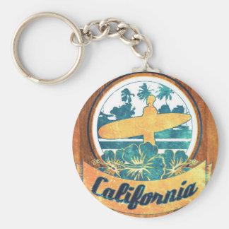 California surfboard basic round button keychain