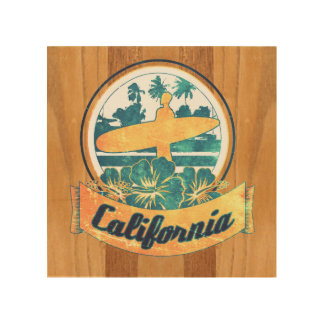 California surfboard wood canvas