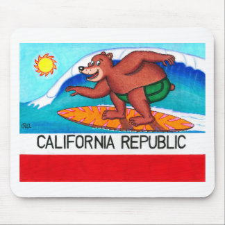California Surfing Bear Flag Mouse Pad