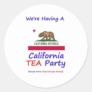 California TEA Party - We're Taxed Enough Already! Round Sticker